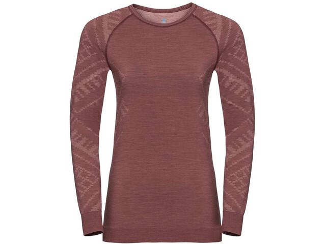 Odlo Natural + Kinship Bl Langærmet T-shirt Damer, roan rouge melange